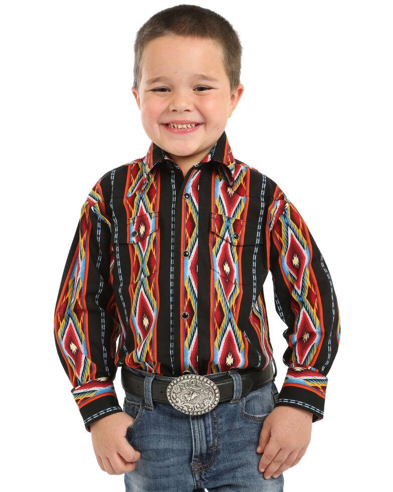 Wrangler Boys' Checotah Aztec Print Long Sleeve Western Shirt , Red, hi-res