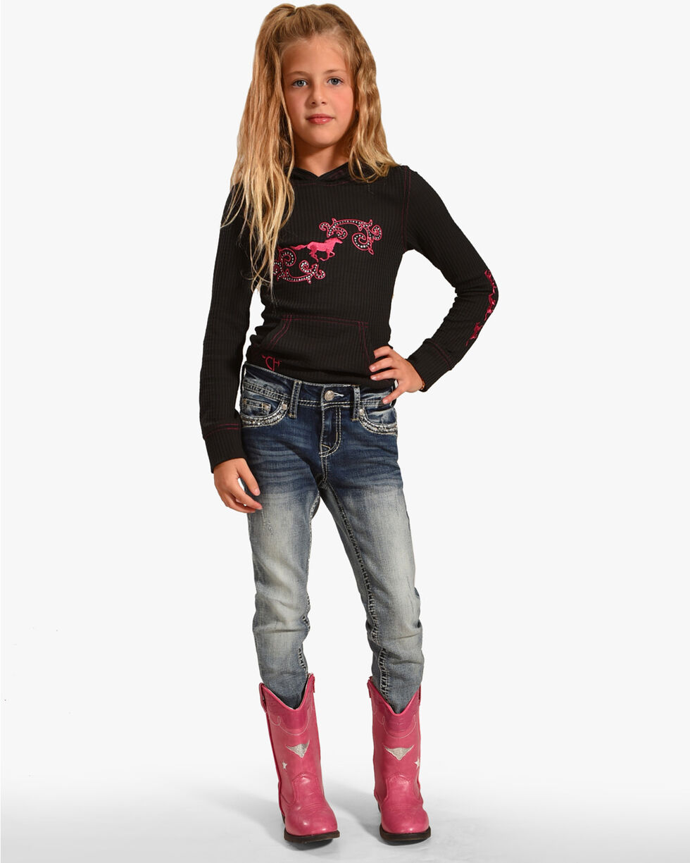Grace in LA Girls' Embroidered Pocket Skinny Jeans, Indigo, hi-res