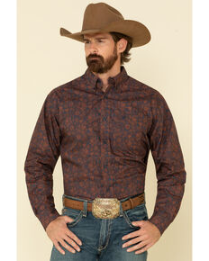 Ariat Men's Jersey Paisley Print Long Sleeve Western Shirt , Navy, hi-res