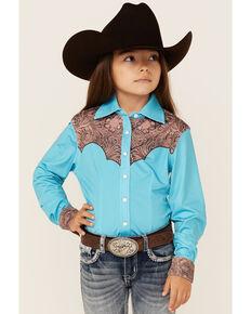 Ranch Dress'n Girls' Solid Teal Tooled Yoke Long Sleeve Snap Western Core Shirt , Teal, hi-res