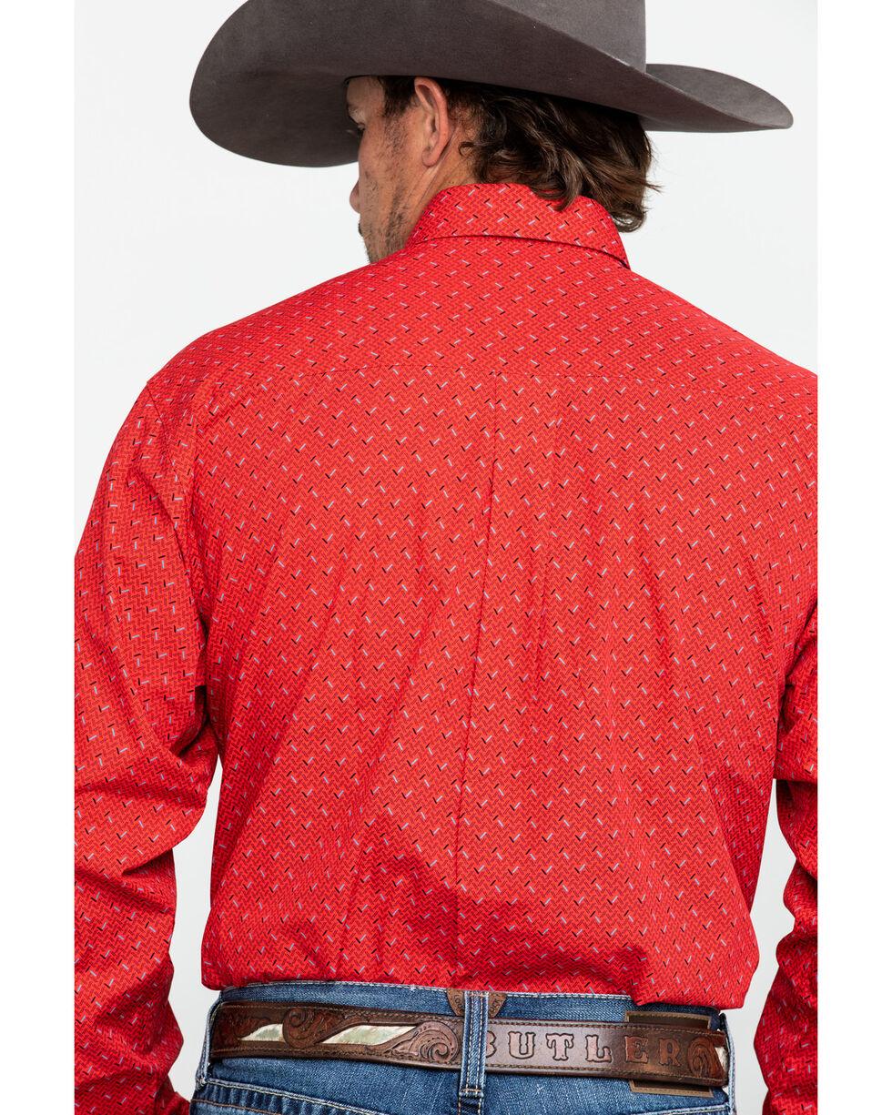 Cinch Men's Red Geo Print Weave Long Sleeve Western Shirt , Red, hi-res