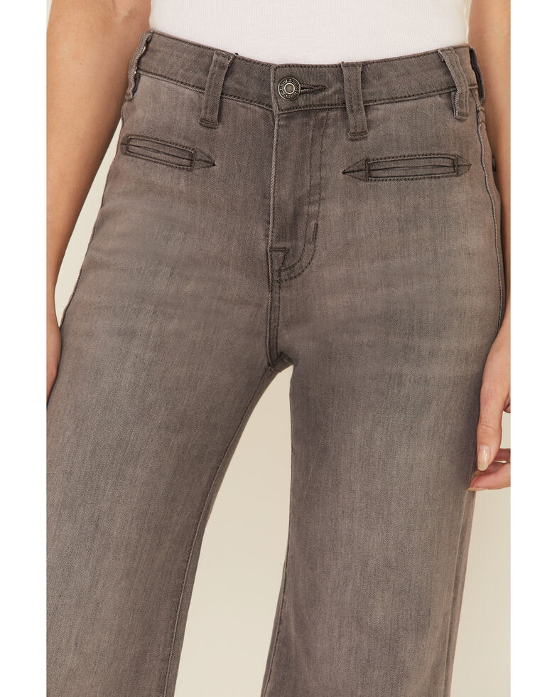 Rock & Roll Cowgirl Women's Grey Wide Hem Flare Jeans , Grey, hi-res