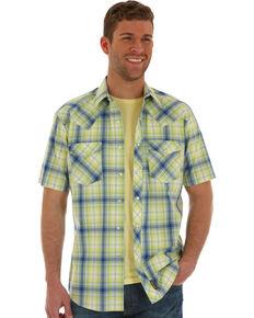 Wrangler Retro Men's Citrus Green Plaid Short Sleeve Western Shirt , Light Green, hi-res