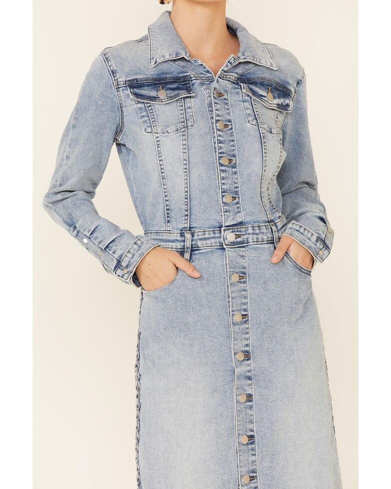 Billy T Women's Blue Denim Braided Shirt Dress, Blue, hi-res