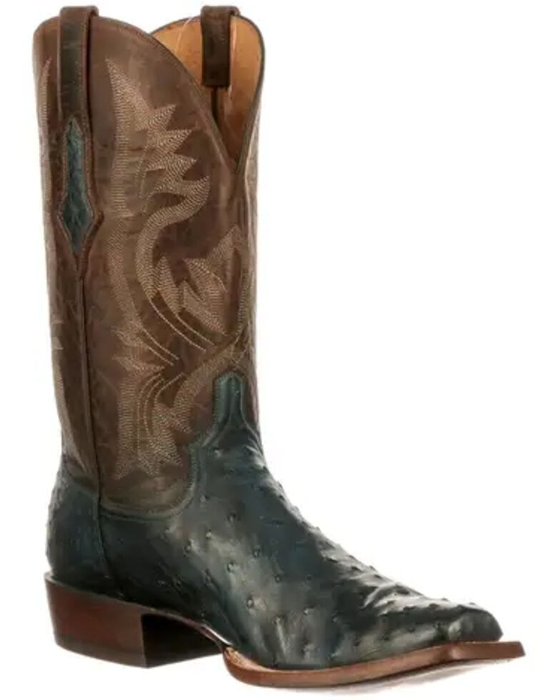 Lucchese Men's Cliff Western Boots - Wide Square Toe, Navy, hi-res