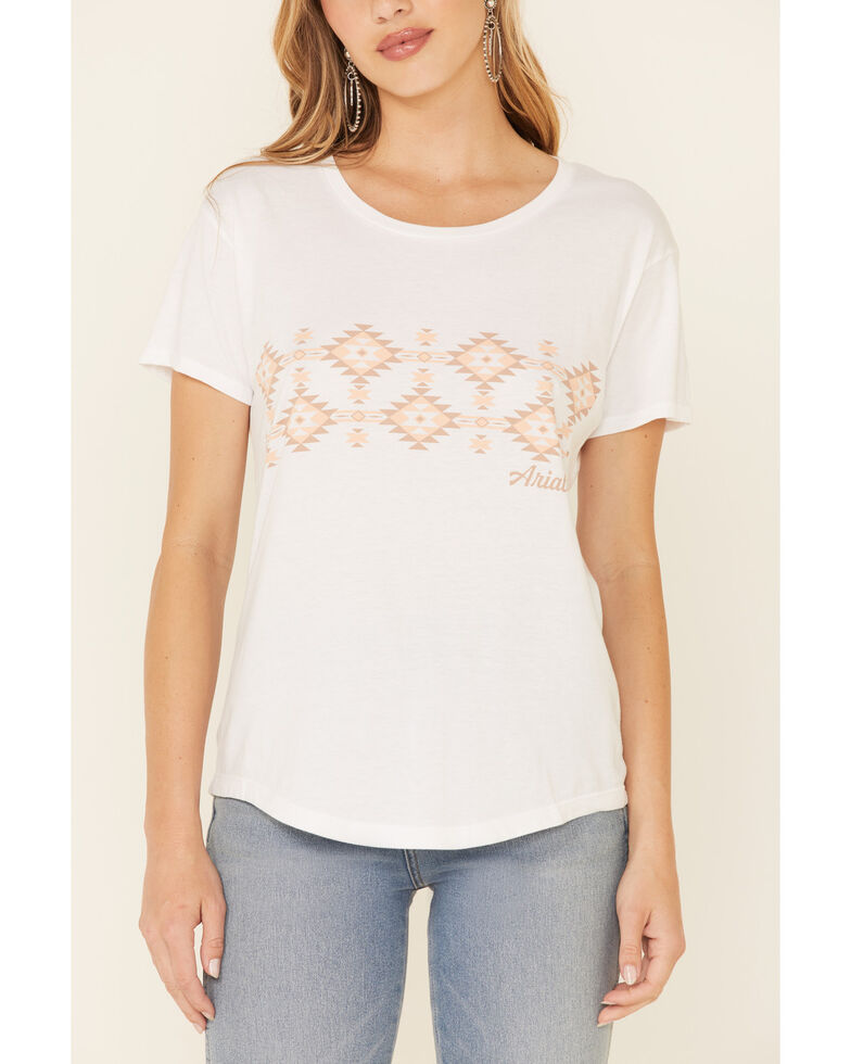 Ariat Women's White Aztec Blanket Stripe Graphic Short Sleeve Tee , White, hi-res