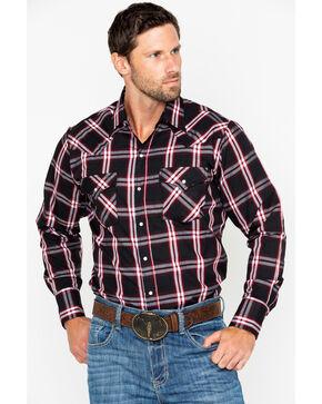 Ely Cattleman Men's Plaid Long Sleeve Western Shirt - Tall, Black, hi-res