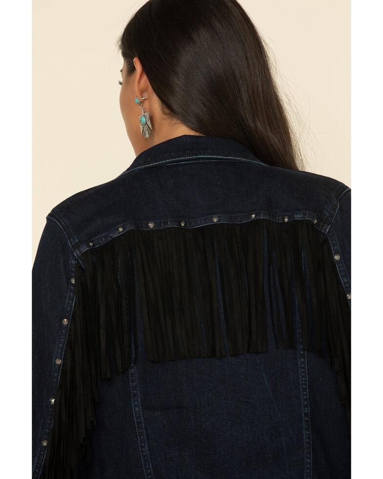 Idyllwind Women's Fringe Fever Denim Jacket, Dark Blue, hi-res