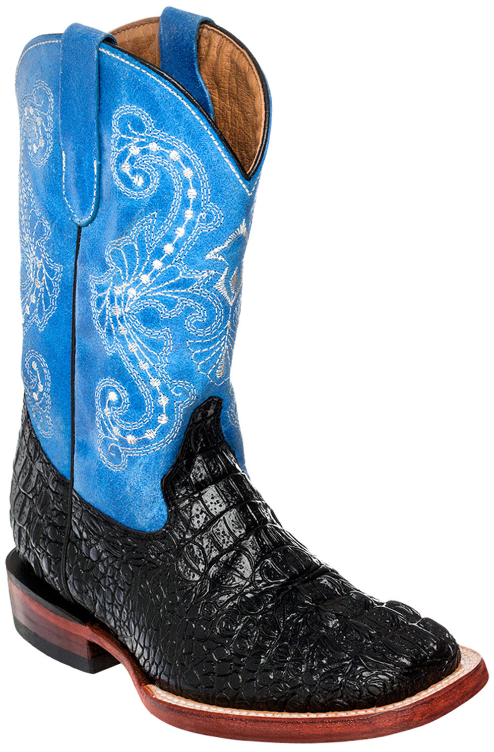 Ferrini Girls' Crocodile Print Cowgirl Boots - Square Toe, Black Ink, hi-res