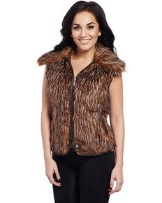 Cripple Creek Women's Brown Faux Fur Vest, Brown, hi-res