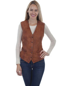 Leatherwear by Scully Women's Cognac Western Vest, Cognac, hi-res