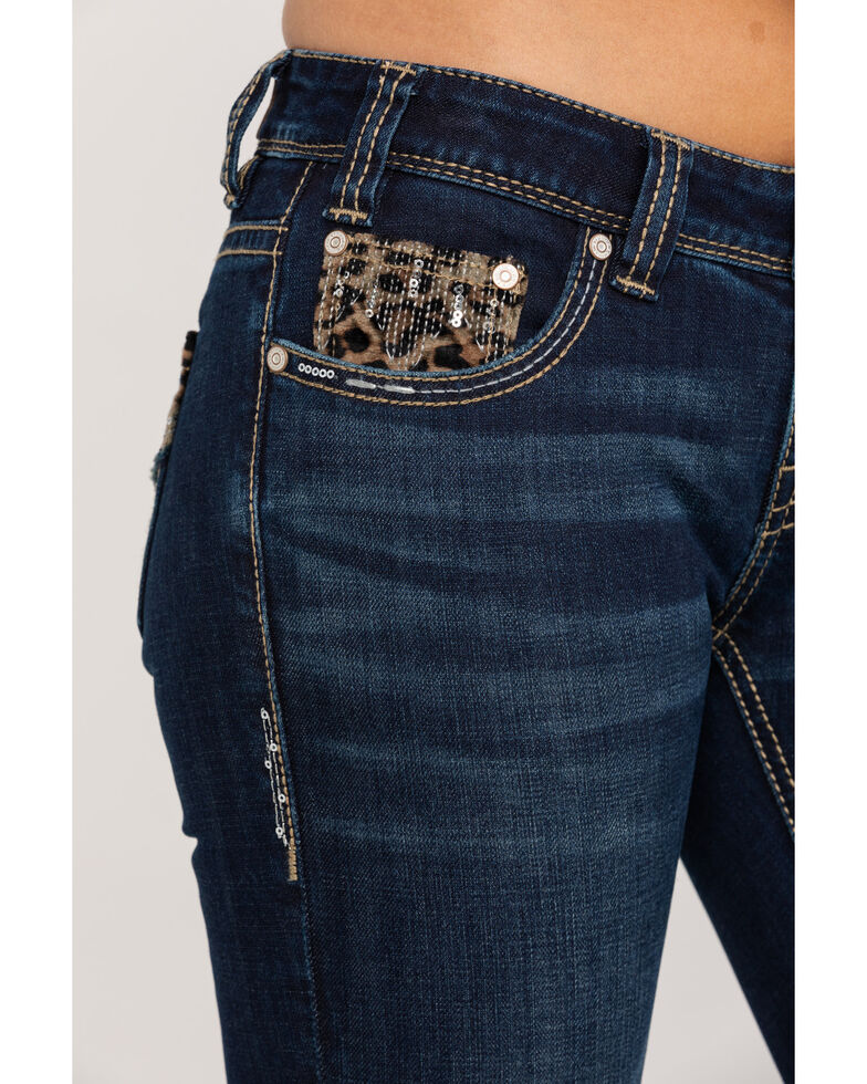 Rock & Roll Cowgirl Women's Dark Wash Rival Bootcut Leopard Patches Jeans, Blue, hi-res