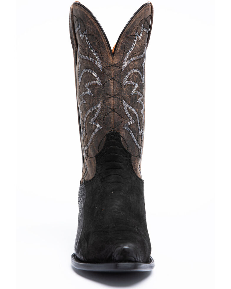 Dan Post Men's Black Ostrich Leg Western Boots - Snip Toe, Black, hi-res