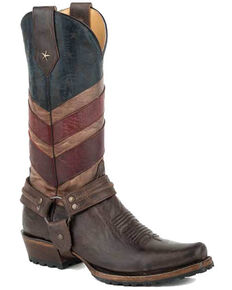 Roper Men's Old Glory Harness Western Boots - Snip Toe, Brown, hi-res
