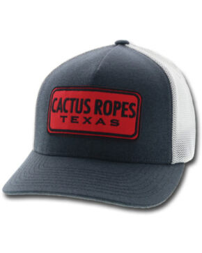 HOOey Men's Blue Cactus Ropes Patch Trucker Cap, Blue, hi-res