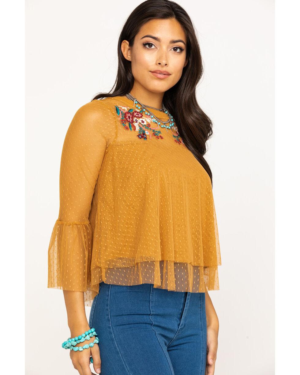Eyeshadow Women's Mustard Embroidered Mesh Bell Sleeve Top, Dark Yellow, hi-res