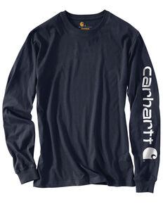 Carhartt Men's Signature Logo Sleeve Knit Work T-Shirt - Big & Tall, Navy, hi-res