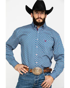 Rough Stock By Panhandle Men's Tonopah Vintage Print Long Sleeve Western Shirt , Heather Blue, hi-res