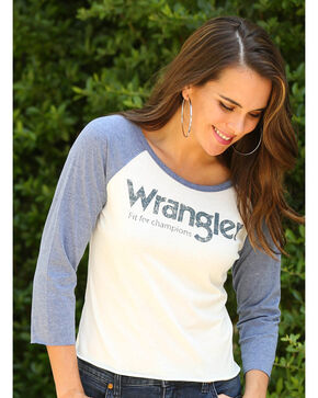 Wrangler Women's Fit For Champions Logo Baseball Tee, Charcoal, hi-res