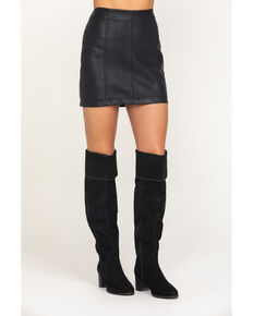 Rock & Roll Cowgirl Women's Black Faux Leather Mini Skirt , Black, hi-res