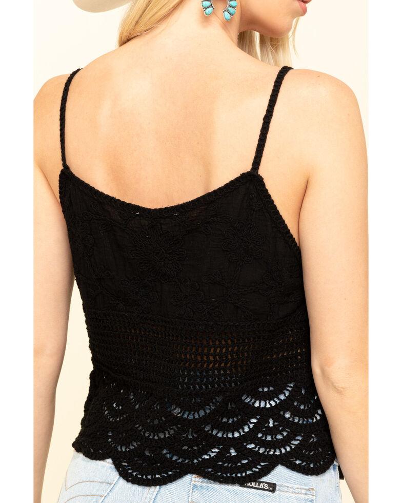 Loveriche Women's Black Crochet Trim Tank Top, Black, hi-res