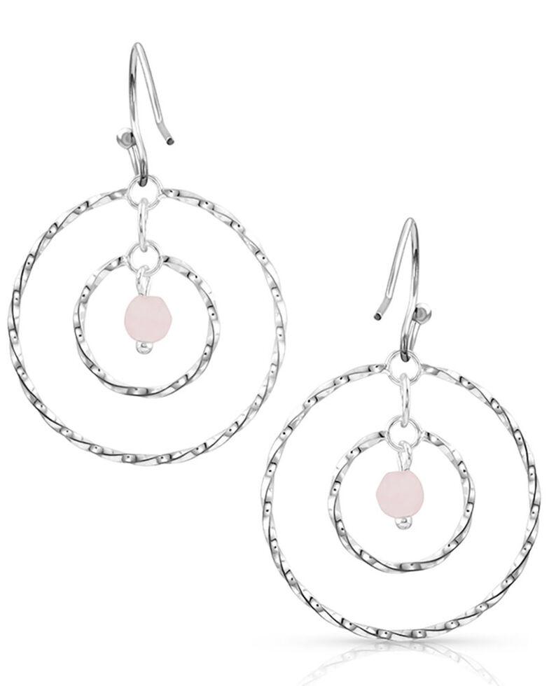 Montana Silversmiths Women's Rose Quartz Waves Earrings, Silver, hi-res