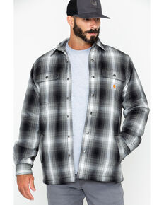 Carhartt Men's Hubbard Sherpa-Lined Shirt Jacket, Charcoal, hi-res