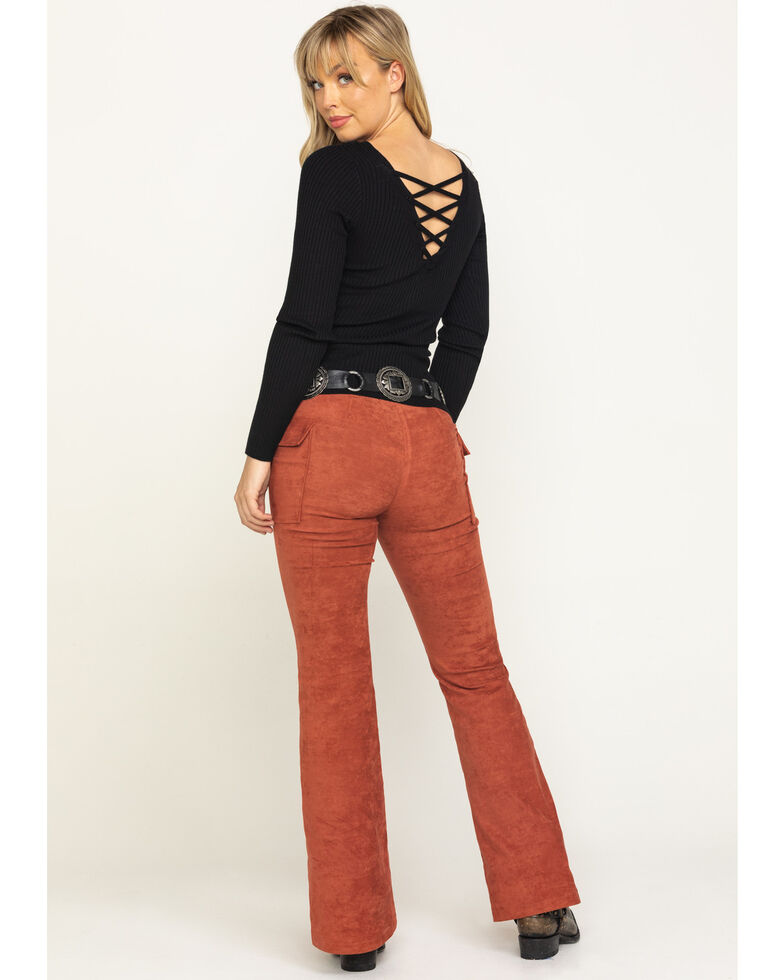 Flying Tomato Women's Rust Faux Suede Flare Cargo Pants, Rust Copper, hi-res