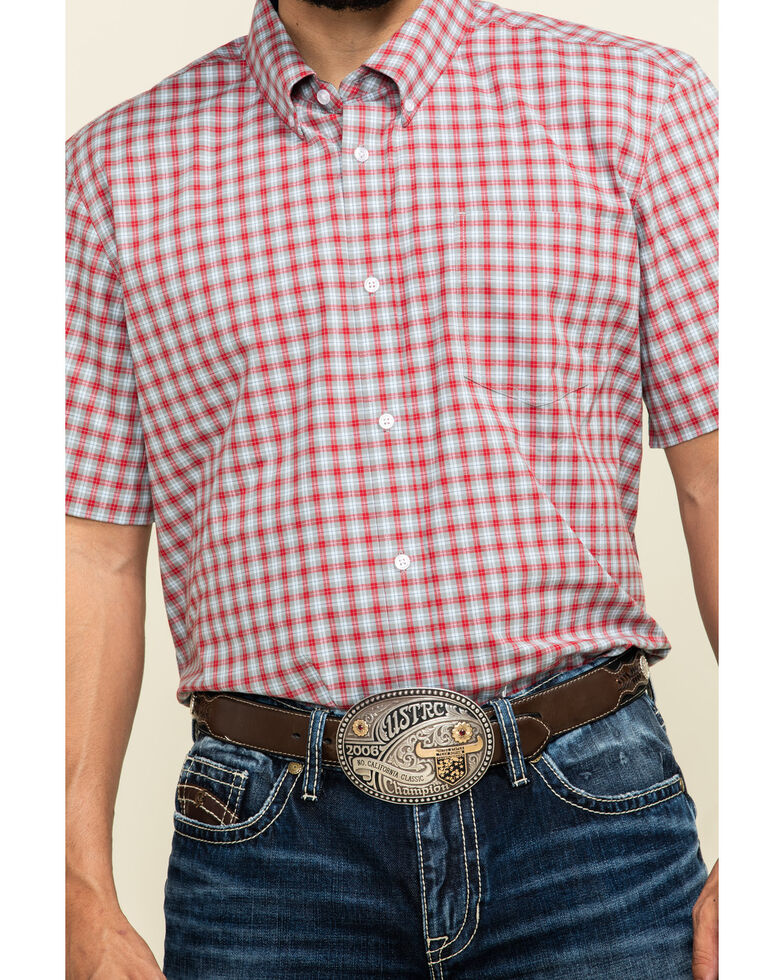 Cody James Core Men's Wild Ride Small Plaid Short Sleeve Western Shirt , Red, hi-res