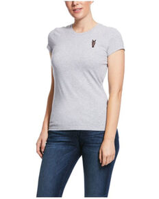 Ariat Women's Heather Grey Horse Embroidered Short Sleeve Tee  , Grey, hi-res