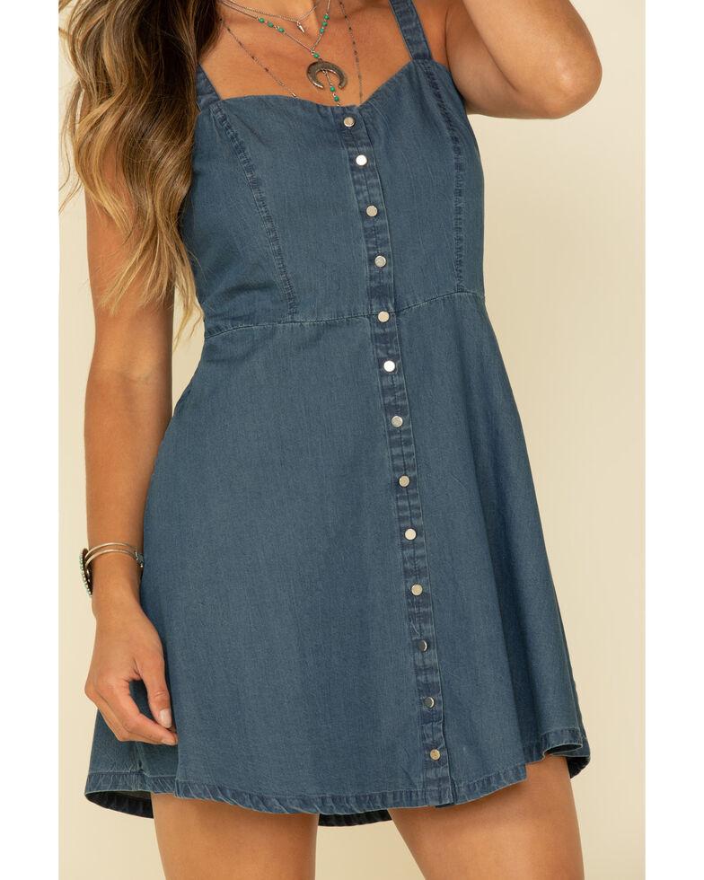 Five Star Women's Denim Fit & Flare Dress, Blue, hi-res