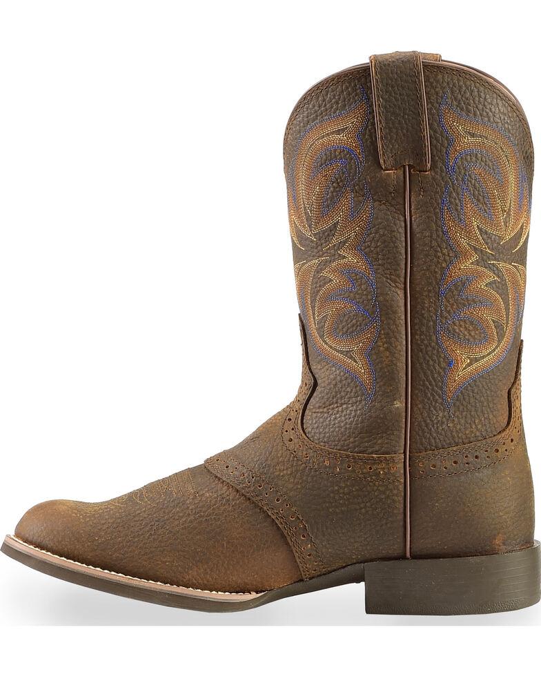 Justin Men's Stampede Cattleman Cowboy Boots - Round Toe, Dark Brown, hi-res