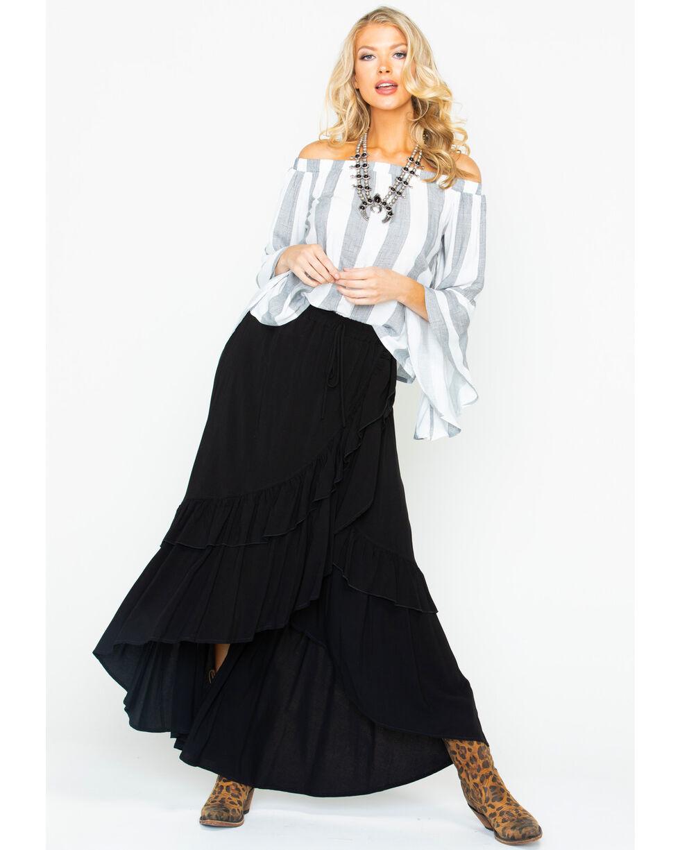 Shyanne Women's Striped Off Shoulder Bell Sleeve Top , Charcoal, hi-res