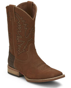 Justin Men's Tallyman Tan Western Boots - Wide Square Toe, Tan, hi-res