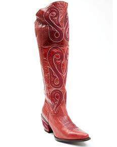 Dan Post Women's Red Isabel Western Boots - Snip Toe, Red, hi-res