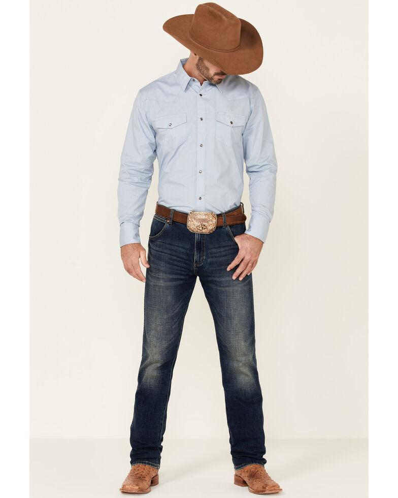 Gibson Men's Light Blue Basic Solid Long Sleeve Snap Western Shirt , Light Blue, hi-res