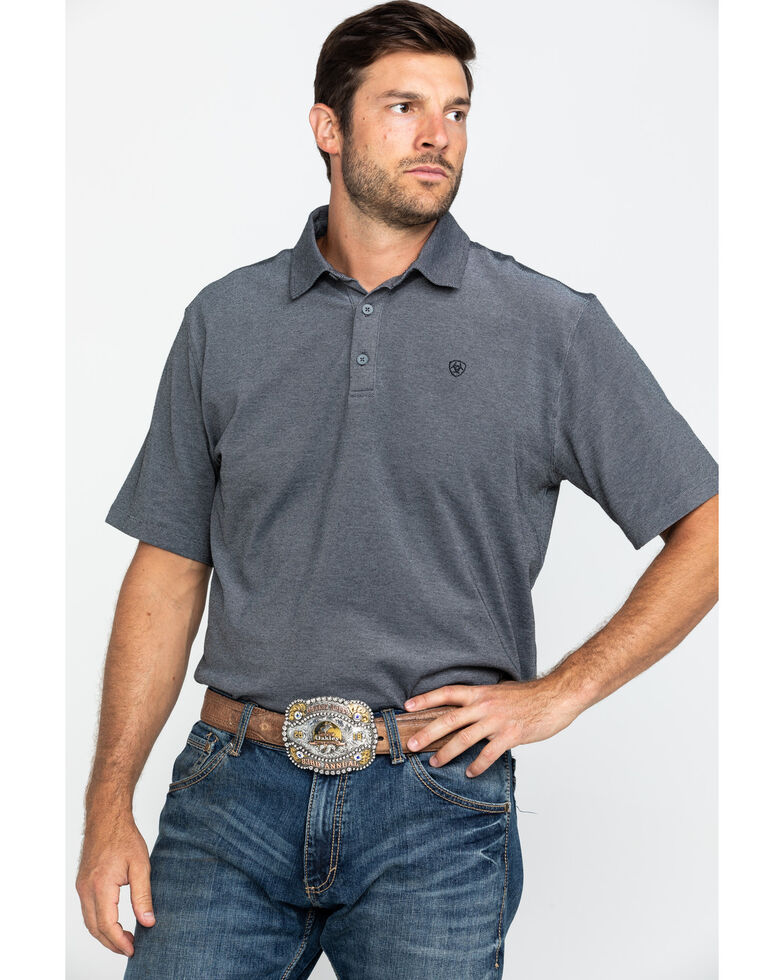 Ariat Men's Black Pique TEK Short Sleeve Polo Shirt , Black, hi-res
