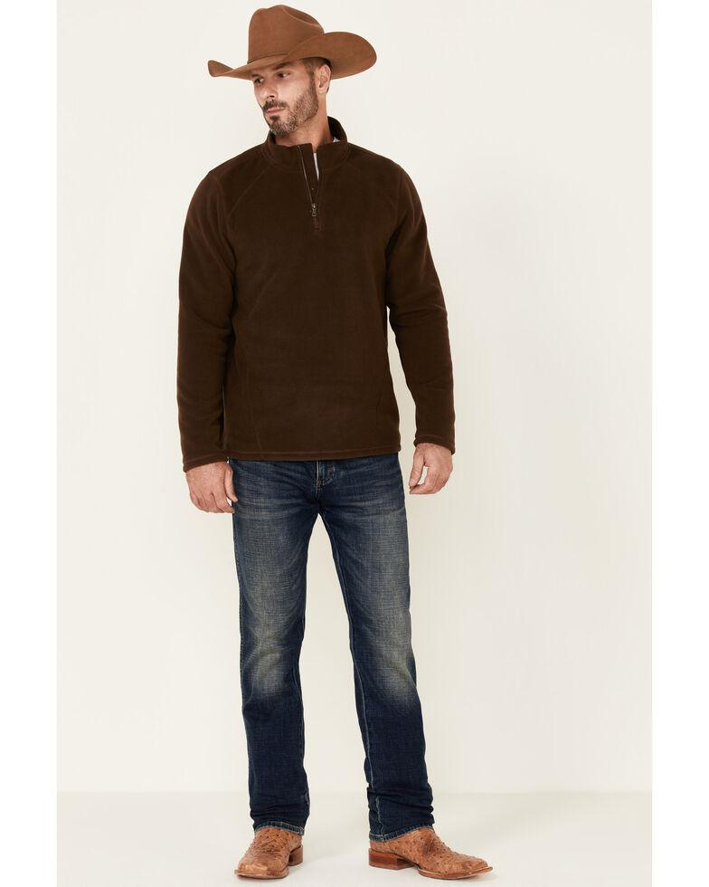 Cody James Men's Solid Brown Escape Polar Fleece 1/4 Zip Pullover, Brown, hi-res