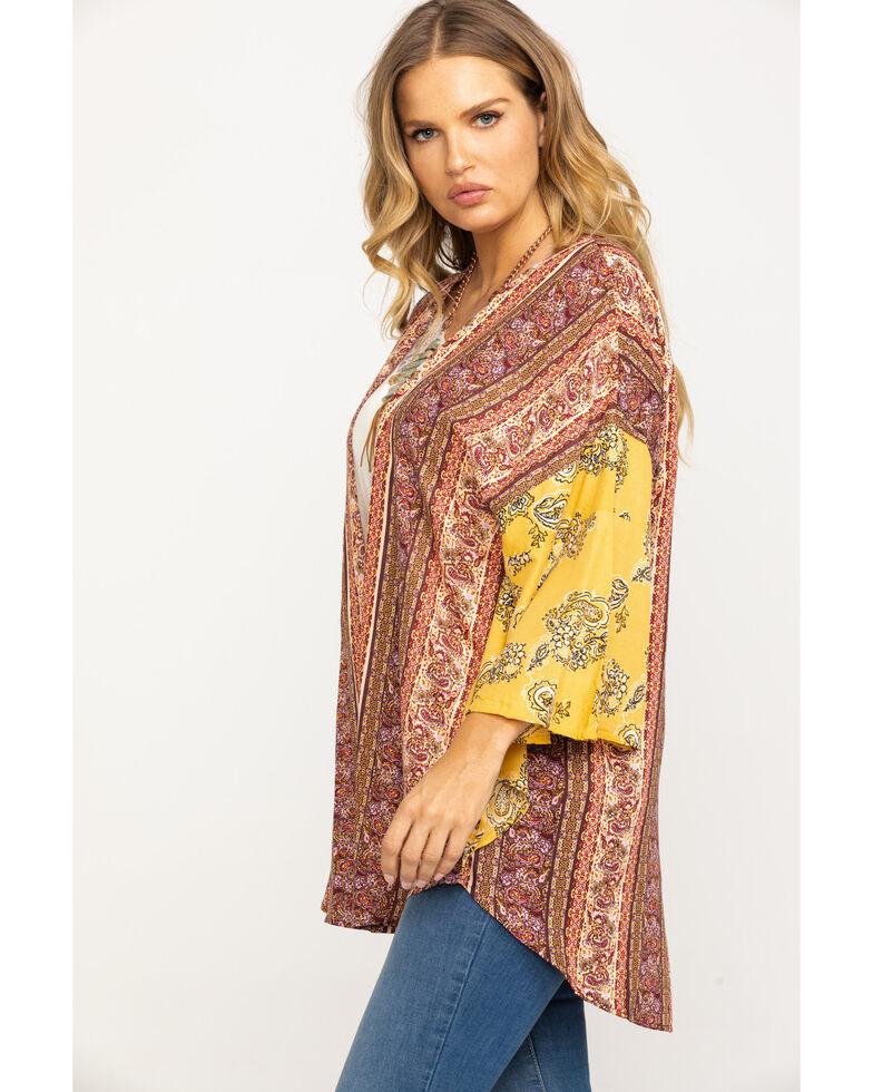 Angie Women's Mustard & Burgundy Boho Bandana Kimono, Dark Yellow, hi-res