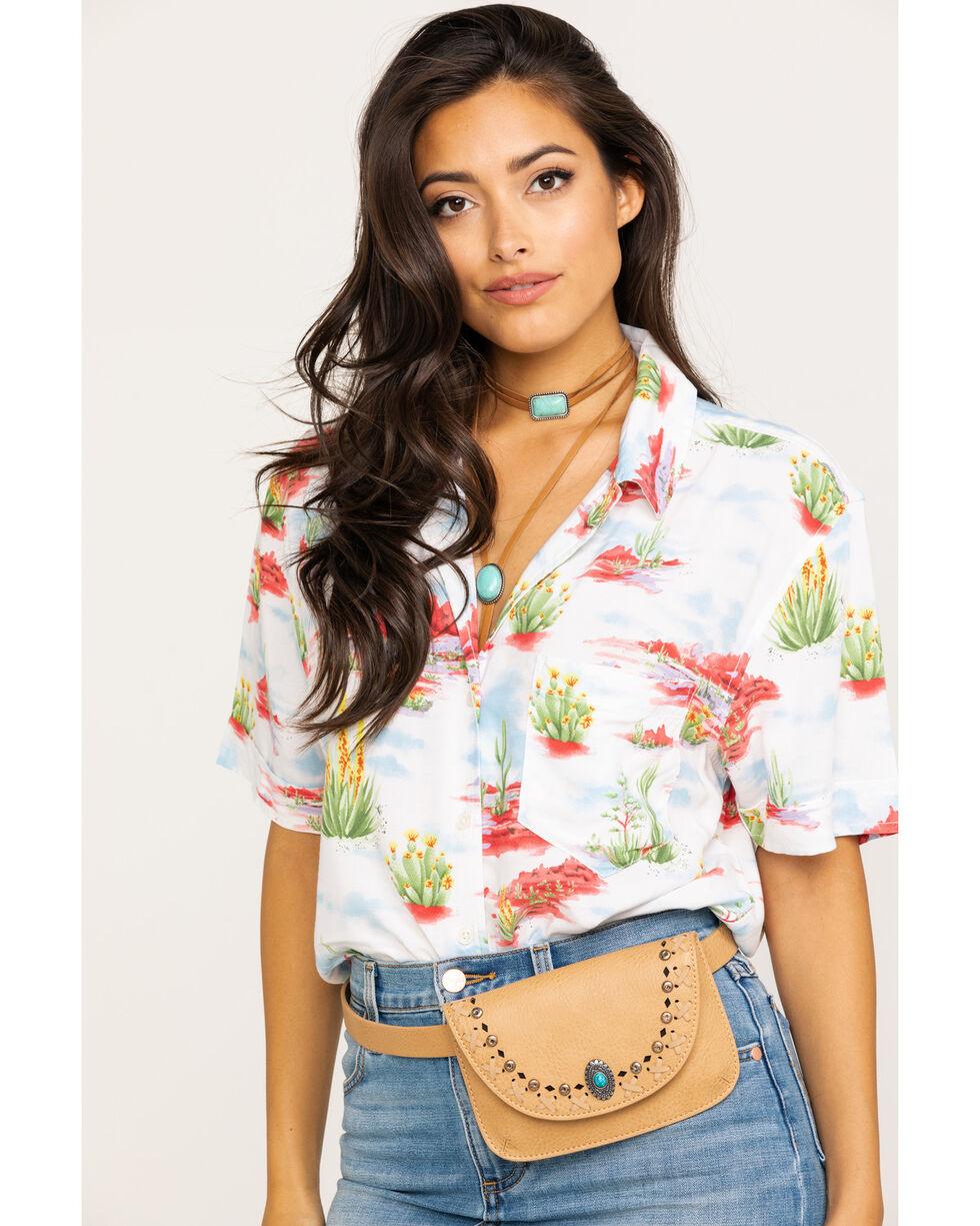 Wrangler Women's Heritage Desert Short Sleeve Shirt, White, hi-res