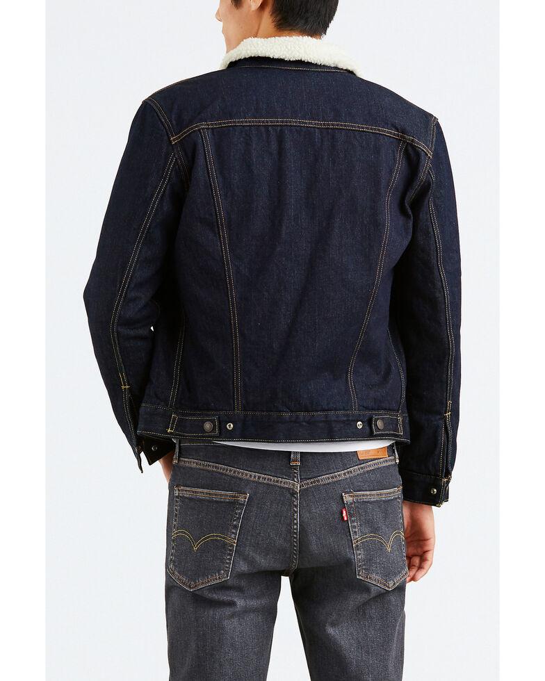 Levis Men's Juniper Sherpa Lined Trucker Denim Jacket , Dark Blue, hi-res
