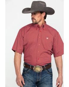c92479cff Cinch Men's Red Tencel Geo Print Short Sleeve Western Shirt