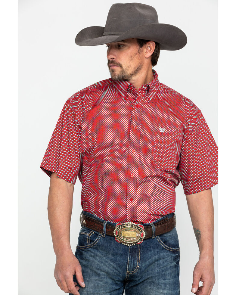 Cinch Men's Red Tencel Geo Print Short Sleeve Western Shirt , Red, hi-res
