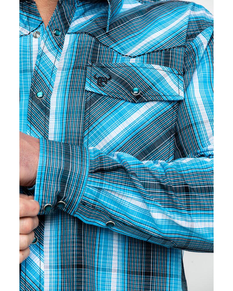Cowboy Hardware Men's Midnight Plaid Long Sleeve Western Shirt , Blue, hi-res
