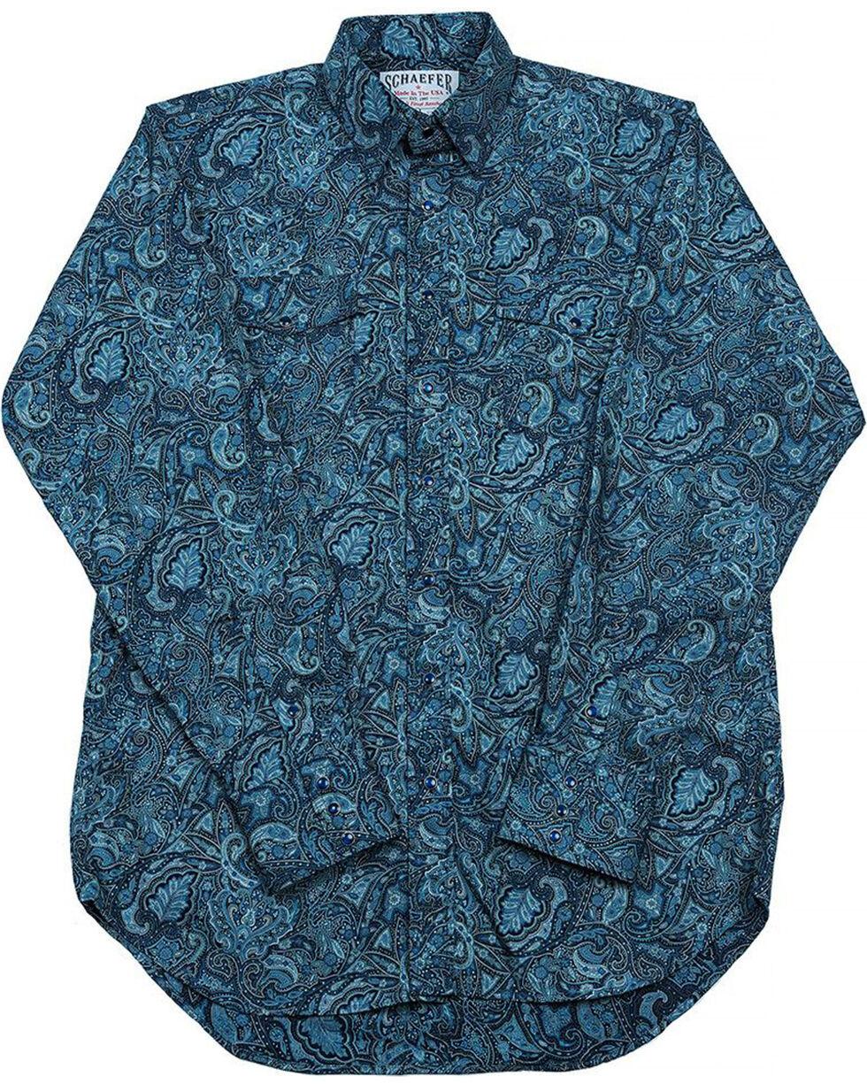 Schaefer Outfitter Men's Blue Frontier Paisley Western Snap Shirt, Blue, hi-res