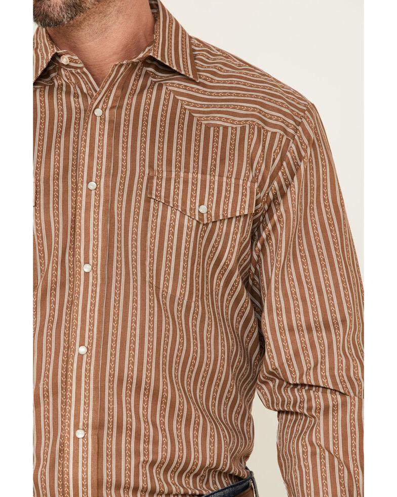 Roper Men's Brown Striped Long Sleeve Snap Western Shirt , Brown, hi-res