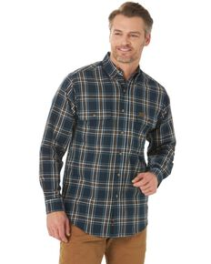 Wrangler Riggs Men's Navy Foreman Plaid Long Sleeve Button-Down Work Shirt - Big, Navy, hi-res