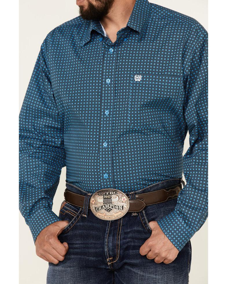 Cinch Men's Blue Stretch Geo Print Long Sleeve Button-Down Western Shirt, Blue, hi-res