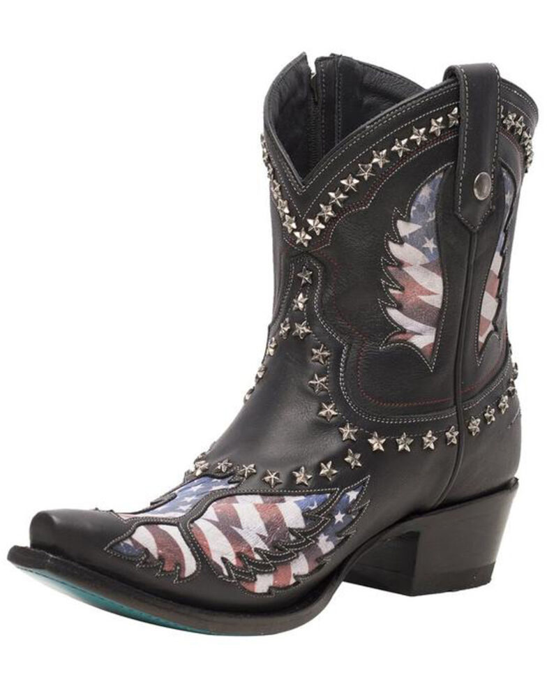 Lane Women's Old Glory Fashion Booties - Snip Toe, Black, hi-res