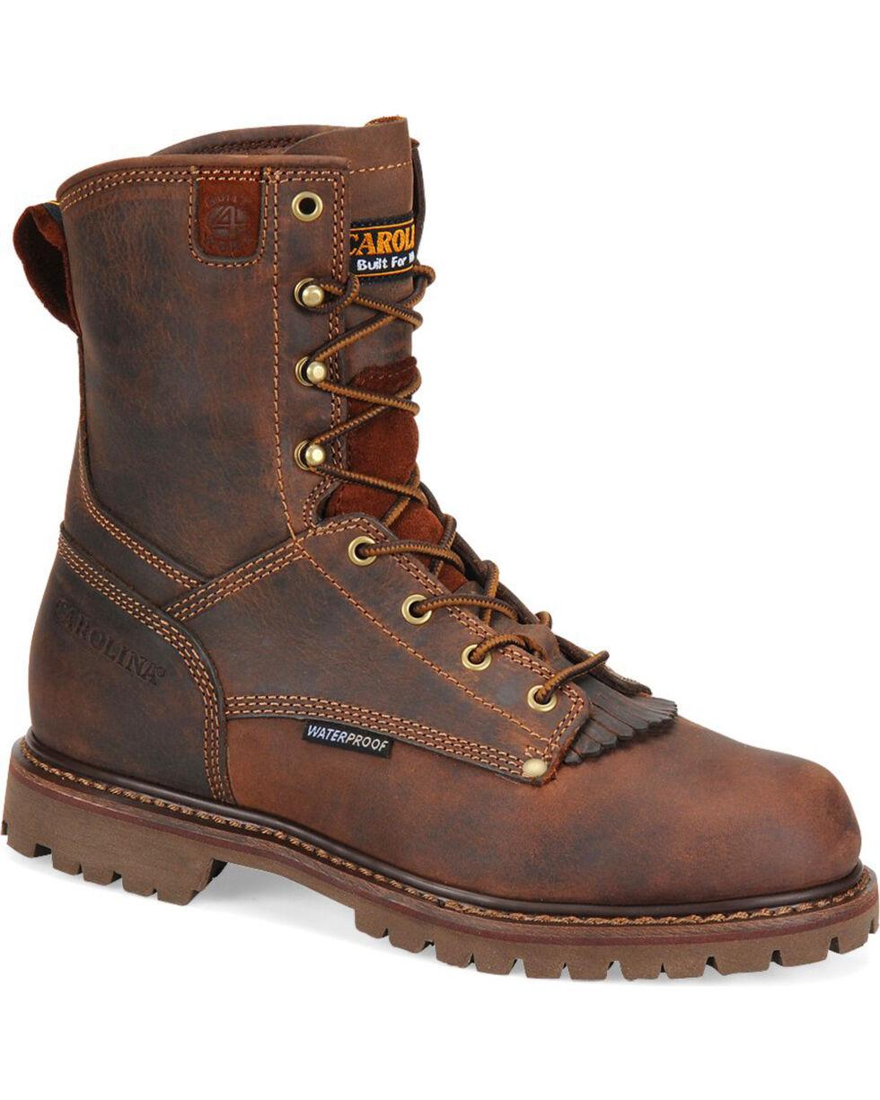 "Carolina Men's 8"" Brown Waterproof Work Boots - Round Toe, Brown, hi-res"
